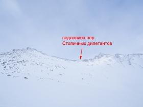 Вид на пер. Столичных дилетантов с востока от озера 1719,2